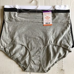Warner's No Muffin Top Cotton Stretch Briefs 2X 3X